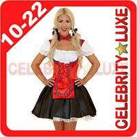 Ladies German Beer Maid Oktoberfest Wench Fancy Dress Costume Black Red White