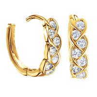 Women Multi Infinity Diamonds 18ct Gold Filled Hoop Huggie Earrings 096