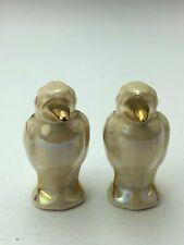 "Vintage Ceramic Gold Plate Birds Salt & Pepper Shaker Figurine Collectible 2.5"""