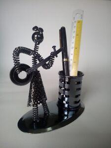 ฺBox, Pen box, Steel box Box, pen, shaped, woman playing music,black
