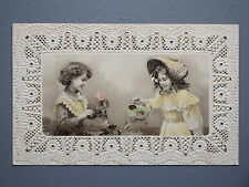 R&L Postcard: German Paperlace Design, Pierced, Children Flowers, Christmas