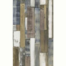 NATURAL & BLUE WOOD BOARD PANEL WALLPAPER - RASCH 203707 - NEW MODERN WALL DECOR