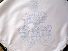Cupcake tablecloth to embroider with lace edge cotton printed cloth CSOO11
