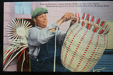 Cherokee Indian Basket Maker on Indian Reservation Smoky Mts. Postcard @1940