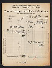 """ANGERS (49) QUINCAILLERIE FERS ACIERS """"MARTIN-RONDEAU , NOEL & MESNARD"""" en 1952"""