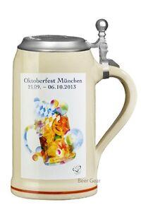 2013 Munich Oktoberfest Stein with Pewter Lid - Genuine Krugs - Stocked in USA