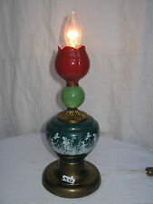 LAMPE KITSCH EN FAIENCE ANCIENNE MULTICOLORE/ANNEES 1960/MOTIF A LA GRECQUE/B58