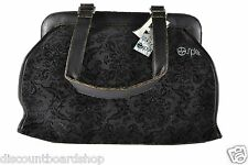 Split FLORAL PAISLEY Black Flower Vegan Friendly Zipper Woman's Purse Bag