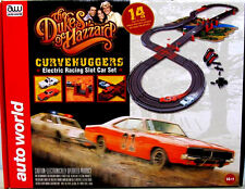 Auto World RS259 14' Dukes of Hazzard General Lee + Roscoe's Police Race Set HO