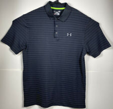 Under Armour Men's Black/Gray Striped Muscle Golf Collared Polo Shirt, Large