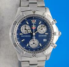 Mens Tag Heuer 2000 SS Chronograph watch - Silver / Blue Dial - CK1112
