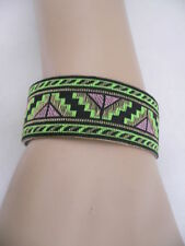 WOMEN GOLD METAL NARROW CUFF AFRICAN DRAWING BRACELET GREEN FABRIC RETRO PRINT