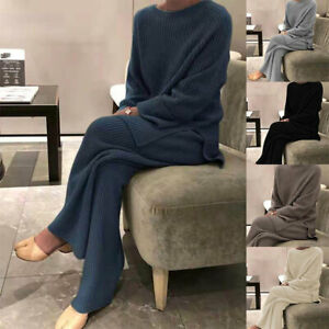 Women Wide Leg Pants Two Piece Set Knitted Outfits Top Sweater Suits Casual Soft