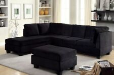 Black Flannelette Fabric Sectional Sofa Set