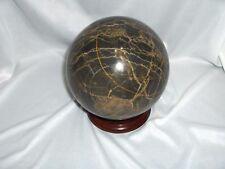 "Jasper Agate Brown & Beige Stone Orb 5"" Diameter Mineral Specimen & Stand 11 Lbs"