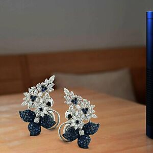 One-of-a-Kind Featuring Sapphire & Shiny CZ 210 Gemstones Cluster Women Earring