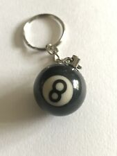 No.8 Mini Eight Ball Snooker Pool Lucky Number Black Unisex Keyring Keychain
