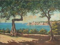 PAYSAGE CÔTIER DE SOLLER (MALLORCA). HUILE SUR TOILE. J. ROMERO XXE SIECLE