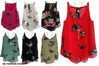 Womens Ladies Chiffon Tiered Layer Cami  Butterfly Vest Top Shirt SIZE 8-14