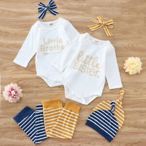 Unisex Baby clothes Long Sleeve Romper Striped Pants Hat Headband Four-Piece Set