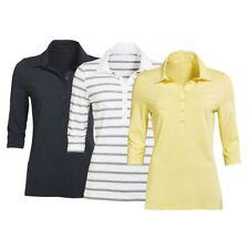 Schickes Damen Poloshirt in 3 Farben und Größen Materialmix