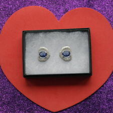 Elegant Iolite And White Cz. Silver Earrings 4.9 Gr. 2.2 x 2 Cm.Wide In Gift Box