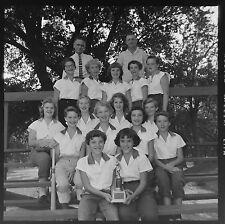 DI79582 Press Photo 2x2 Negative 1957 Cute Teen Girls Ball Team 50's Hair Style