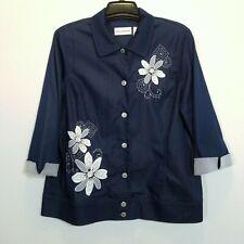 ALFRED DUNNER Womens Stretch Denim Jacket Size 16 Floral Trim 3/4 Sleeve Blazer