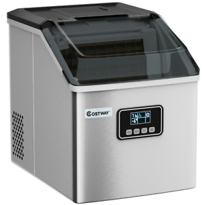 Stainless Steel Ice Maker Machine Portable 48Lbs/24H Self-Clean W/ LCD Display