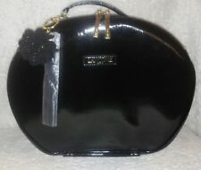 NEW Lancome Black Faux Pat Leather Cosmetic Makeup Bag ROUND Train Case TRAVEL