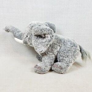 """FAO Schwarz Gray Elephant Plush Large 26"""" Trunk Up Stuffed Animal with Tusks"""