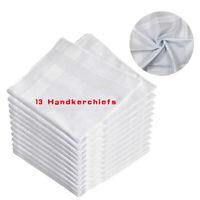13 Pcs Men White Cotton Handkerchiefs Hanky Pocket Square Hankie Lot Set Vintage