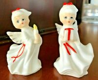 Vintage Pair (2) Christmas Angels Figurines White Porcelain Red Gold Trim Taiwan