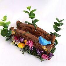 Fairy Garden Bridge Terrarium Miniature Dollhouse Handcrafted Bird Flowers OOAK