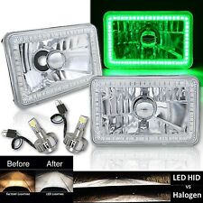 "4X6"" Green SMD Halo Glass/Metal Headlight 6000K 6K LED Light Bulb Headlamp Pair"