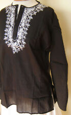 New_Boho_Peasant_Black Cotton Tunic Top_White Embroidery_S,M,L,XL_Beautiful