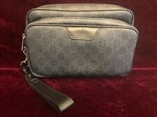 Brand New Authentic GUCCI 337082 GG Pattern Pouch Business Bag PVC Black/Grey
