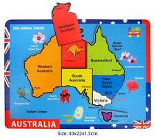 Brand New - Raised Wooden Australia Map Puzzle Fun Learning Educational Toy