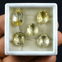 37 Cts/5Pcs VVS Natural Yellow Citrine Ring Size Oval Cut Gemstone Wholesale Lot