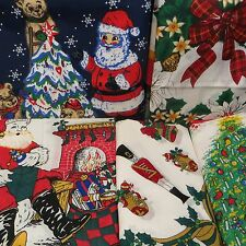 Old Time Christmas Bandana - Santa Tree Bears Holly Wreath Snowman Toys Soldier