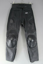 J&S BLACK LEATHER BIKER TROUSERS SIZE 10: WAIST 28 INCHES/INSIDE LEG 28 INCHES