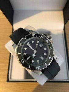 Men's Black Watch Classic Sub, Automatic Ceramic Bezel, Rubber Strap + Watch Box