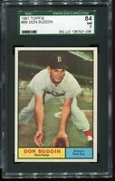 1961 Topps #99 DON BUDDIN Boston Red Sox SGC 84 NM 7  !
