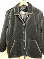 """CHAPS Womens 3x** BLACK QUILTED JACKET Bust 27"""" Button Accents"""
