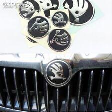 SKODA Emblem x7 PCS SET sticker HOOD + TRUNK + STEERING WHEEL + CUP HUB WHEEL