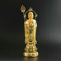 23.5cm China Resin Golden Paint Buddhism Tang Monk Ksitigarbha Boddhisattva 地藏王
