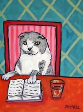 libraRy Art With A Scottish Fold Cat 13X19 Print poster gift modern folk