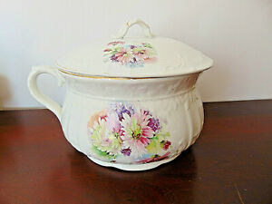 Vintage Floral Ceramic Chamber Pot with Lid and Handle 10 x 7