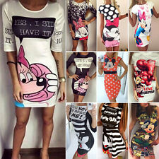 Femmes mickey cartoon party mini robe moulante stretch bodycon robe de soirée