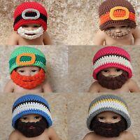 New Cute Handmade Full Beard Baby Child Knit Crochet Hat Cap Photo Prop 0-5 Year